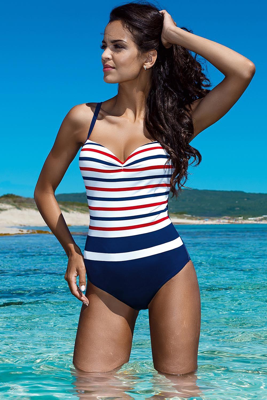 f0128289f8a17c Jednoczęściowy strój kąpielowy Kostium jednoczęściowy Model L4018  Navy/White - Lorin Hurtownia odzieży on-line, moda damska, bielizna i  obuwie dla kobiet ...