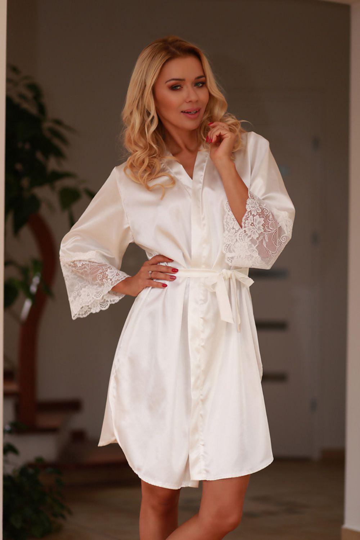 81224c8505373c Szlafrok Podomka Model Marbella satyna Ecru - Kalimo Hurtownia odzieży  on-line, moda damska, bielizna i obuwie dla kobiet - Matterhorn.pl