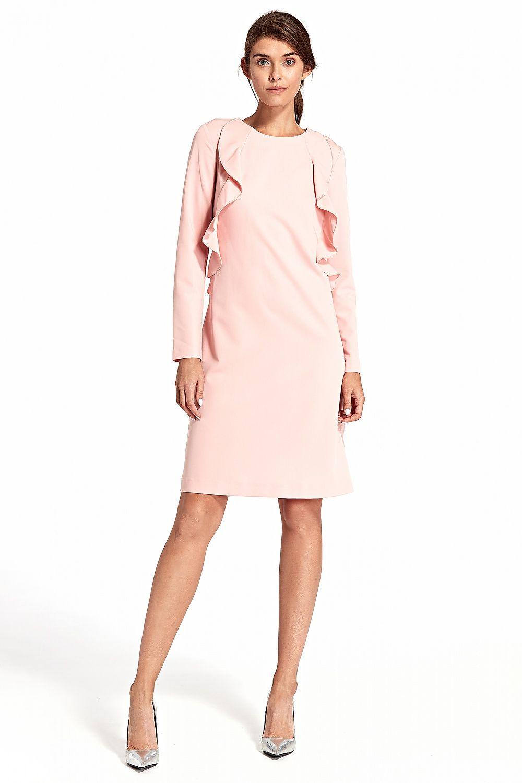 b5e36444f3 Sukienka z pionową falbaną S103 Pink - Nife Hurtownia odzieży on ...